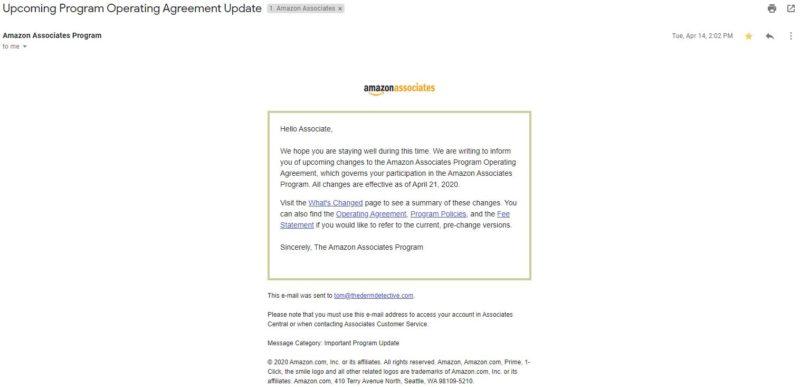 Amazon Associates Letter - April 2020