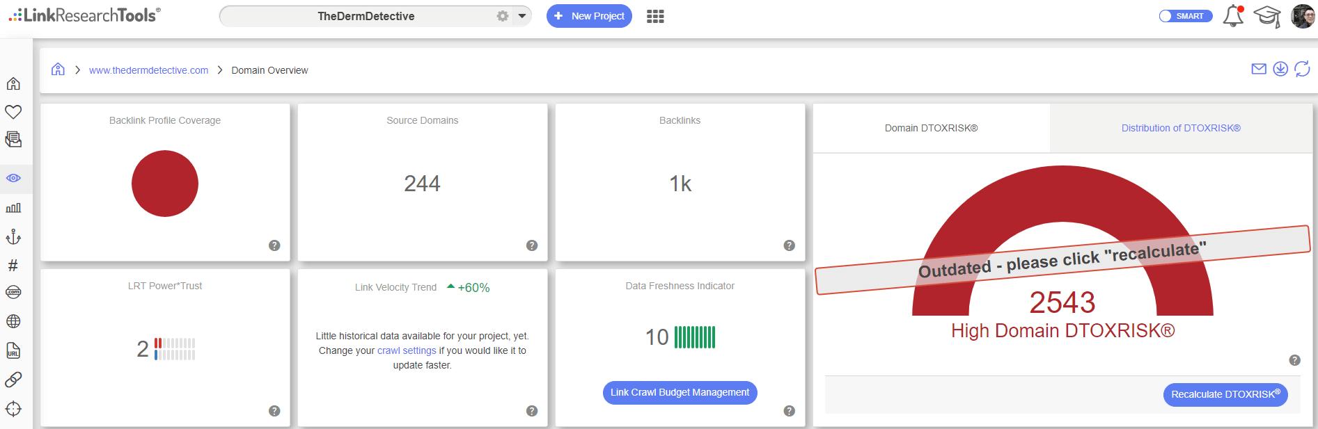 LinkResearchTools DTOX Score